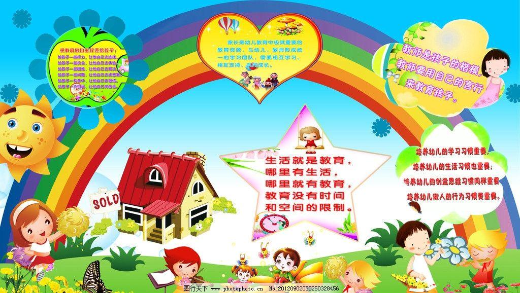 贴画图片 幼儿园海报设计 幼儿园图片展板 卡通背景 彩虹 太阳 小房子