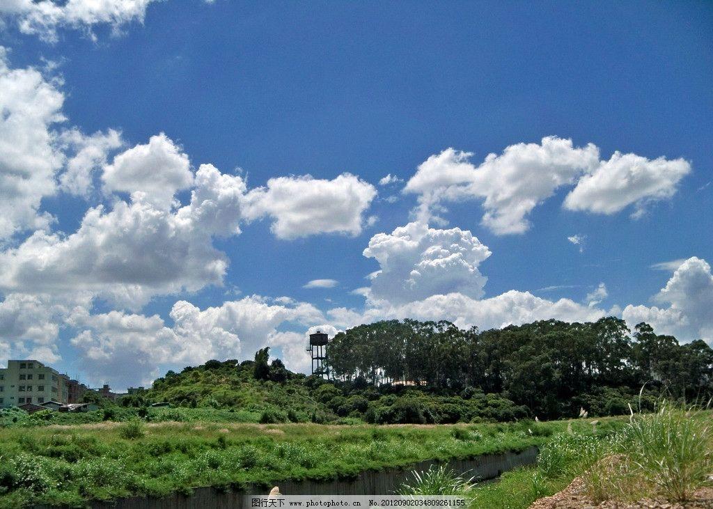 蓝天白云图片,青草 绿树 自然风景 自然景观 摄影-图