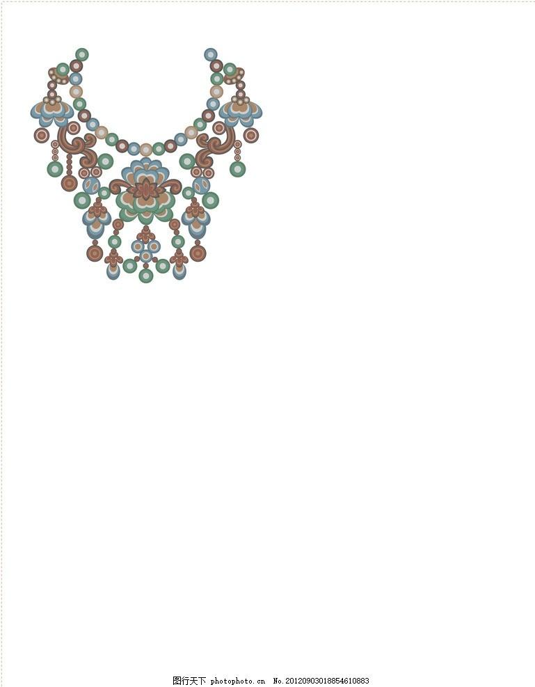 矢量传统首饰 少数民族风情项链 敦煌花纹 设计素材 复古 民俗元素图片