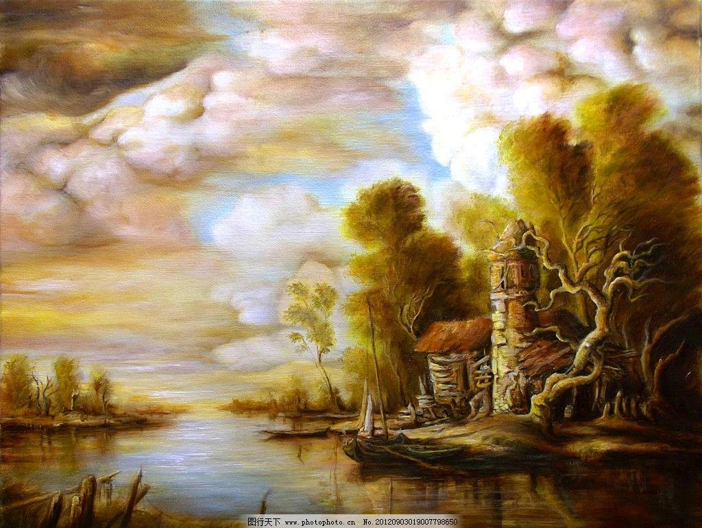 油画 风景 油画风景 绘画 艺术 油画艺术 古风油画 复古油画 复古风格