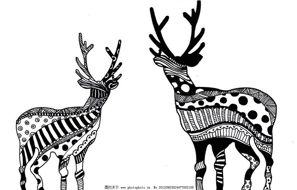 麋鹿 花纹 印花 抽象 黑白