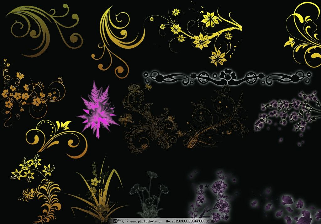 花纹 图腾 花边 线条 花朵 源文件