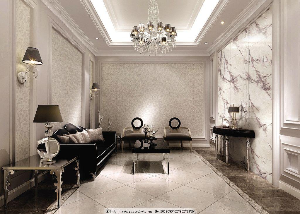 豪华客厅 电视背景 大厅 简约 现代 黑白调 欧式 背景墙 抛光砖