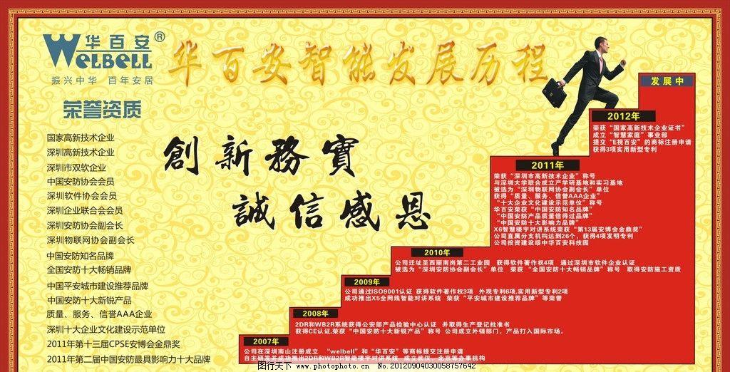 阶梯 商务人士 华百安标志 华百安荣誉资质 海报设计 广告设计 矢量