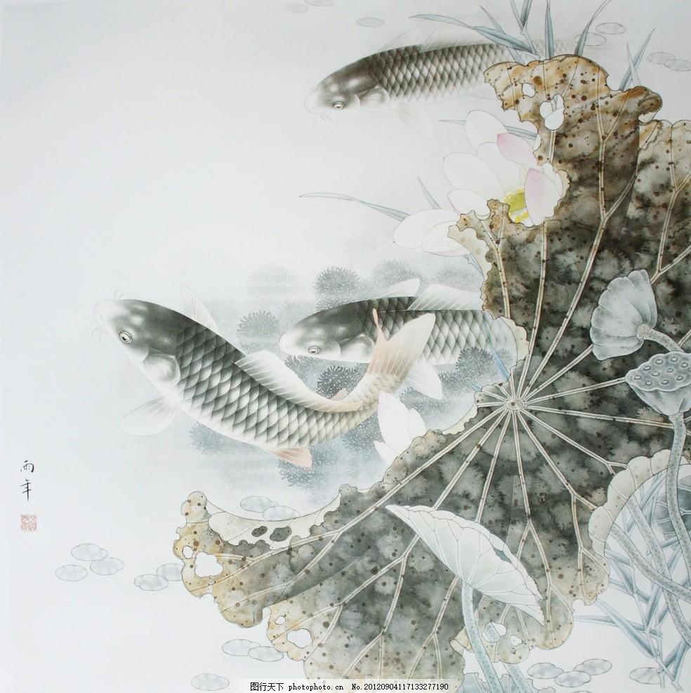 荷叶与鲤鱼水墨画分享展示