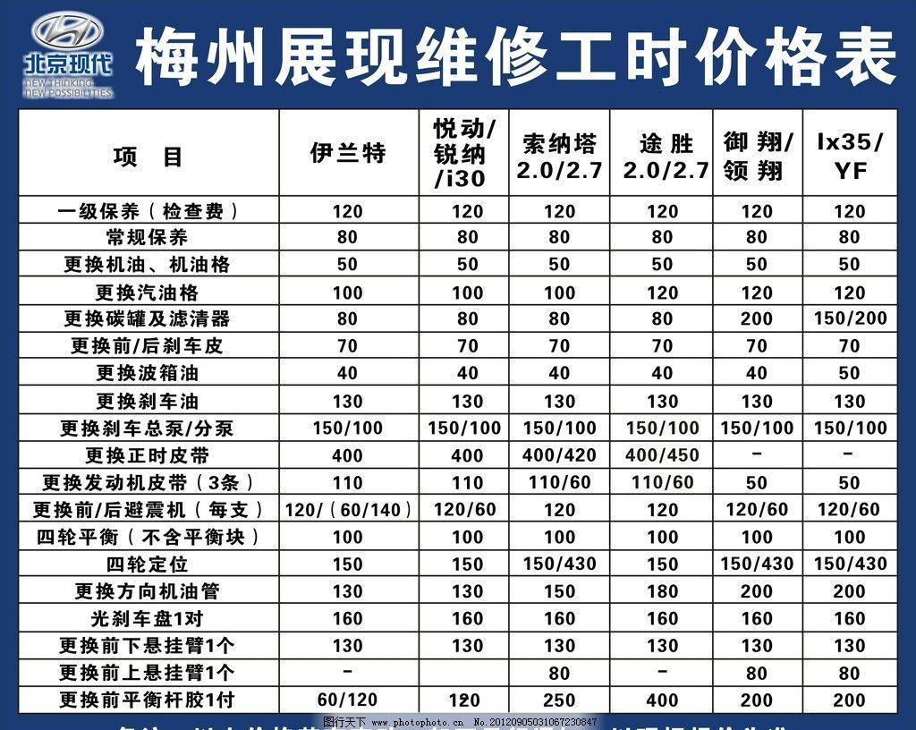 北京现代报价表_设计图库 广告设计 其他  价格表 维修 北京现代 表格 其他设计 广告