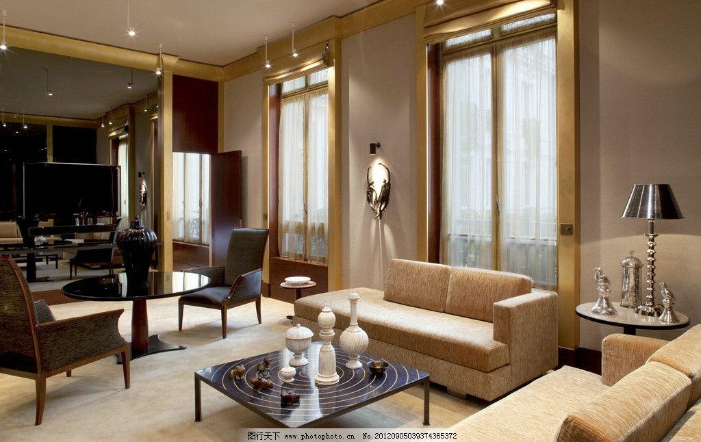 室内装修 室内摄影 豪华 酒店 客厅 欧式 简约 简约风格 建筑和室内