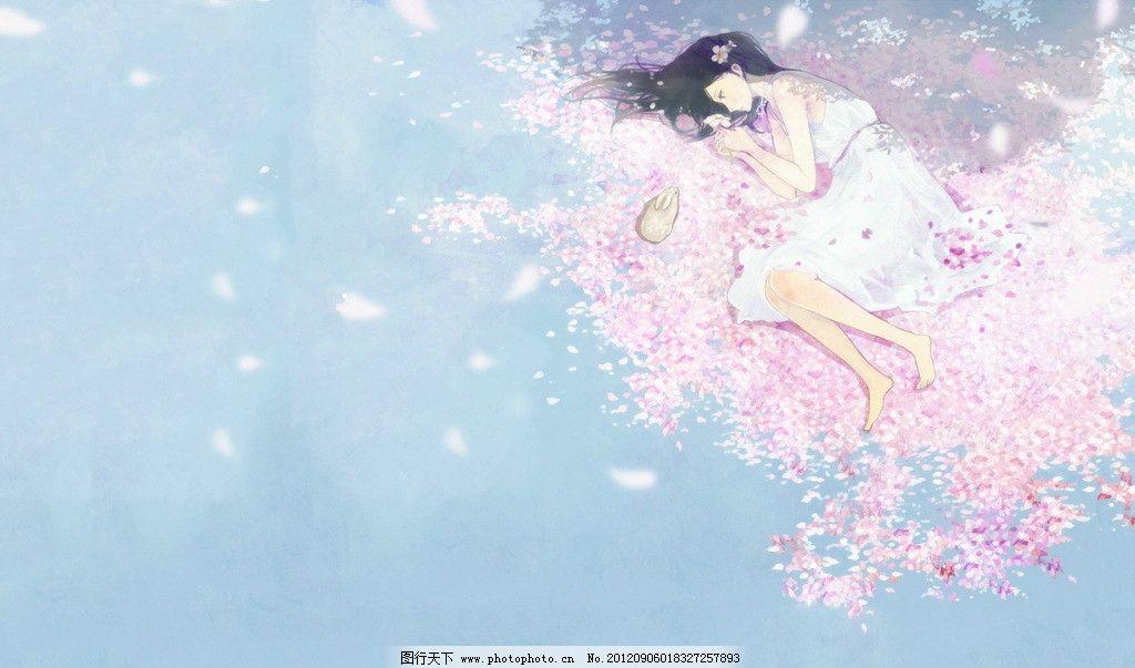 樱花 女孩 兔子 唯美 漫画 高清 手绘 人物 动漫人物 动漫动画 设计