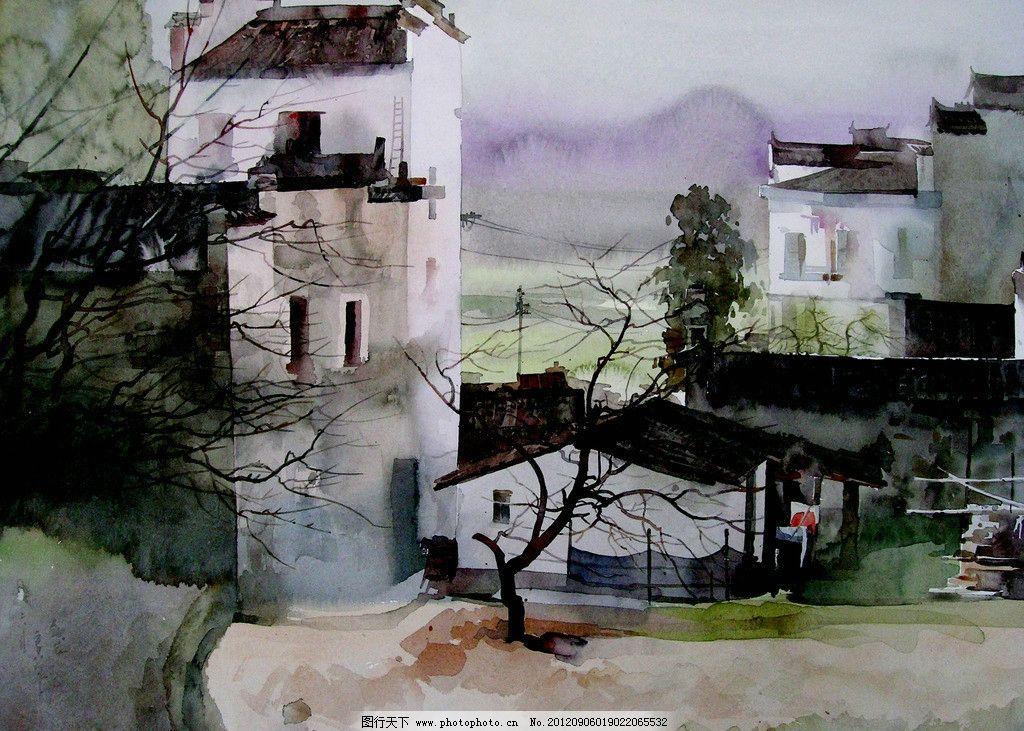 乡村春早 美术 水彩画 风景画 房屋 民居 乡野 树木 农田 水彩画艺术