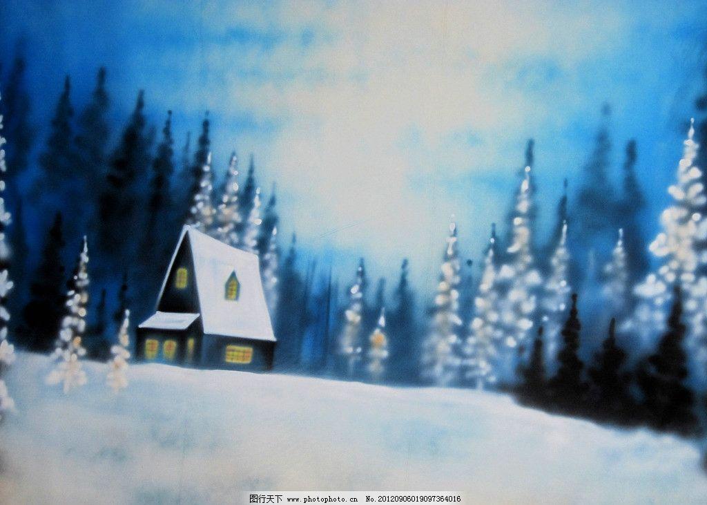 雪景 小屋 树林 雪地 手工 喷绘 背景 影楼 房子 绘画 绘画书法 文化