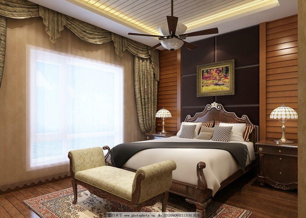 卧室效果图 美式 乡村 风格 别墅