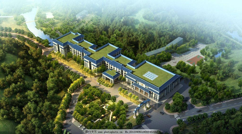中式酒店高清鸟瞰效果图图片