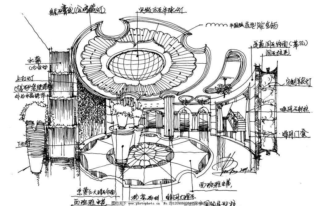 酒店大堂手绘欧式方案草图 酒店大堂 欧式风格 手绘方案 手绘草图 无