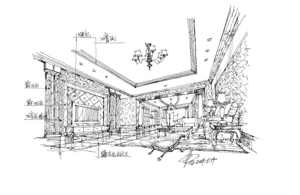 欧式家居客厅空间手绘草图 欧式风格 室内设计 欧式家居客厅空间手绘