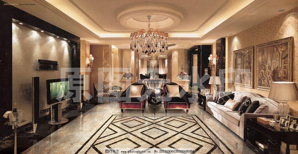 客厅 酒店 大堂 别墅 豪华 欧式 室内装修 大厅 石材 石砖