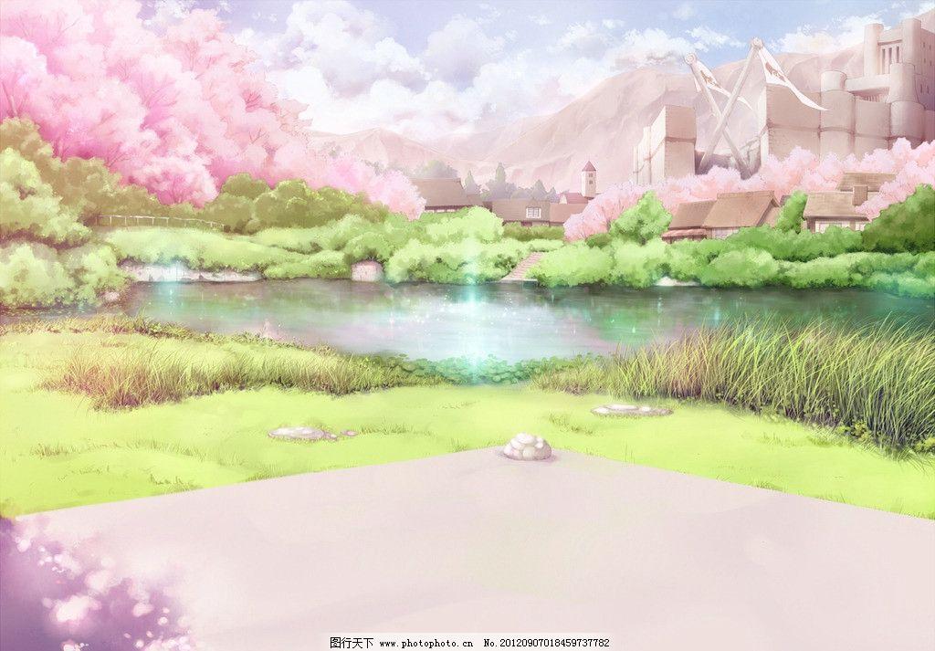 粉色风景 湖 岸边 动漫 房子 草地 樱花 动漫动画