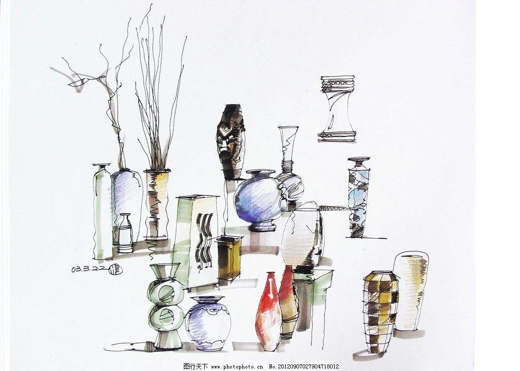 单体手绘 室内 单体 手绘 饰品 花瓶 干枝 装饰瓶 室内设计 环境设计