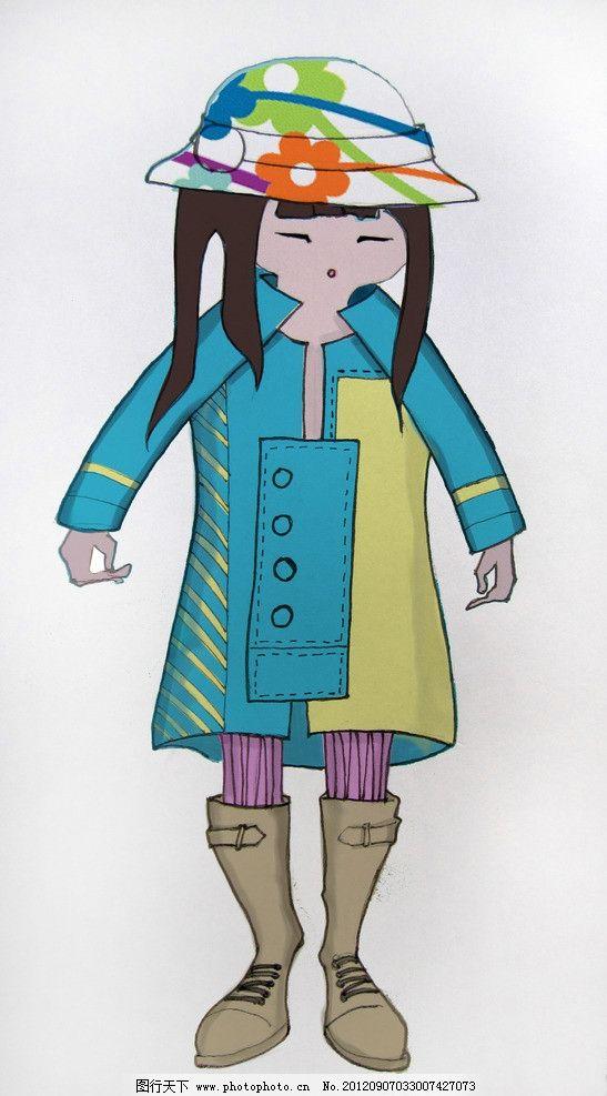 童装 大衣 女孩 卡通女孩 手绘美女 psd分层素材 源文件 180dpi psd