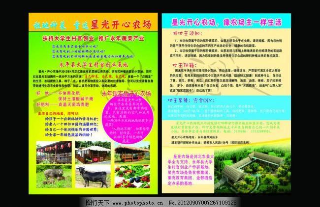 农场彩页 动物 广告设计模板 家禽 绿地 绿色 农民 宣传页 宣传单