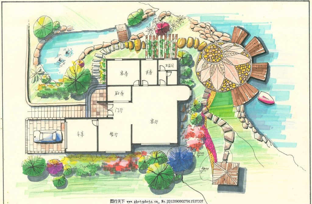 平面图 家居 手绘 室外 景观设计 布局