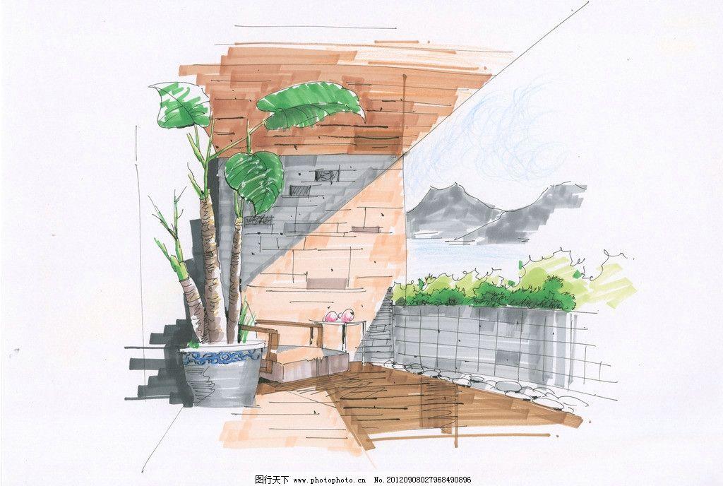 手绘 室内 家居 设计        阳台 室内设计 环境设计 300dpi jpg