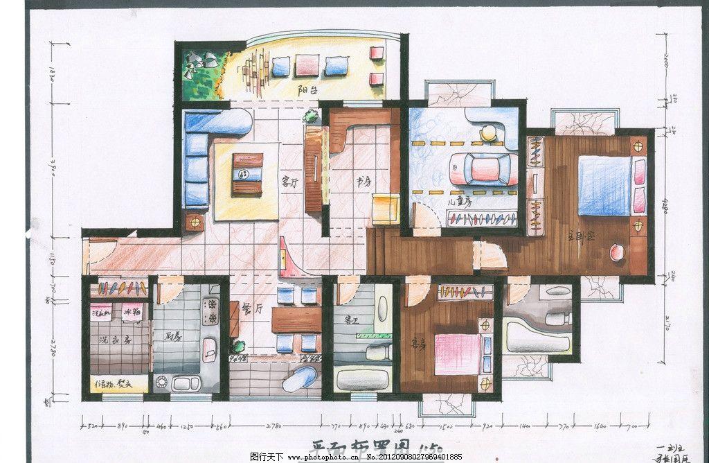 平面图 家居 手绘 室内 布局 室内设计 环境设计 设计 300dpi jpg