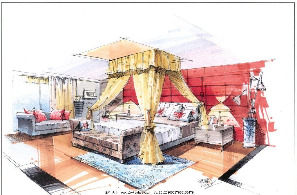 邓蒲兵作品 庐山特训 特训手绘资料 环境设计 卧室设计 设计图库 手绘