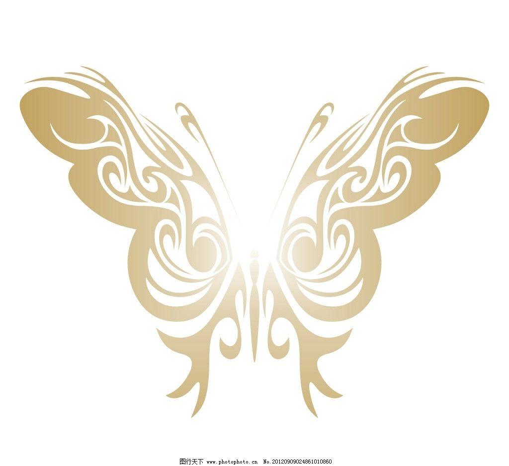 金色渐变蝴蝶 花纹精巧