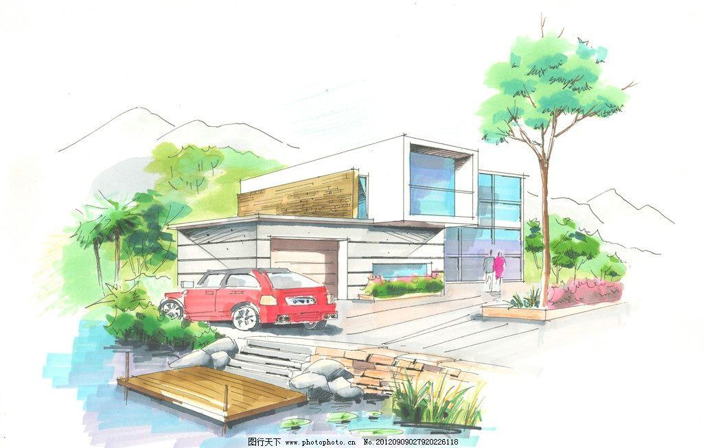 建筑外观 别墅      建筑 设计 手绘        室内设计 环境设计 300