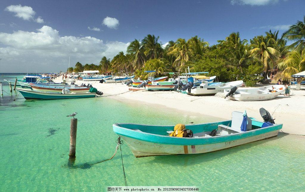 沙滩上的小船 马尔代夫 沙滩 小船 蓝天 白云 天空 树林 海景 国外
