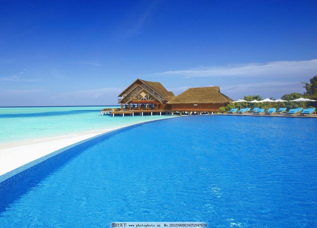 马尔代夫水屋 马尔代夫 草屋 海水 大海 天空 自然风光 水屋 国外旅游