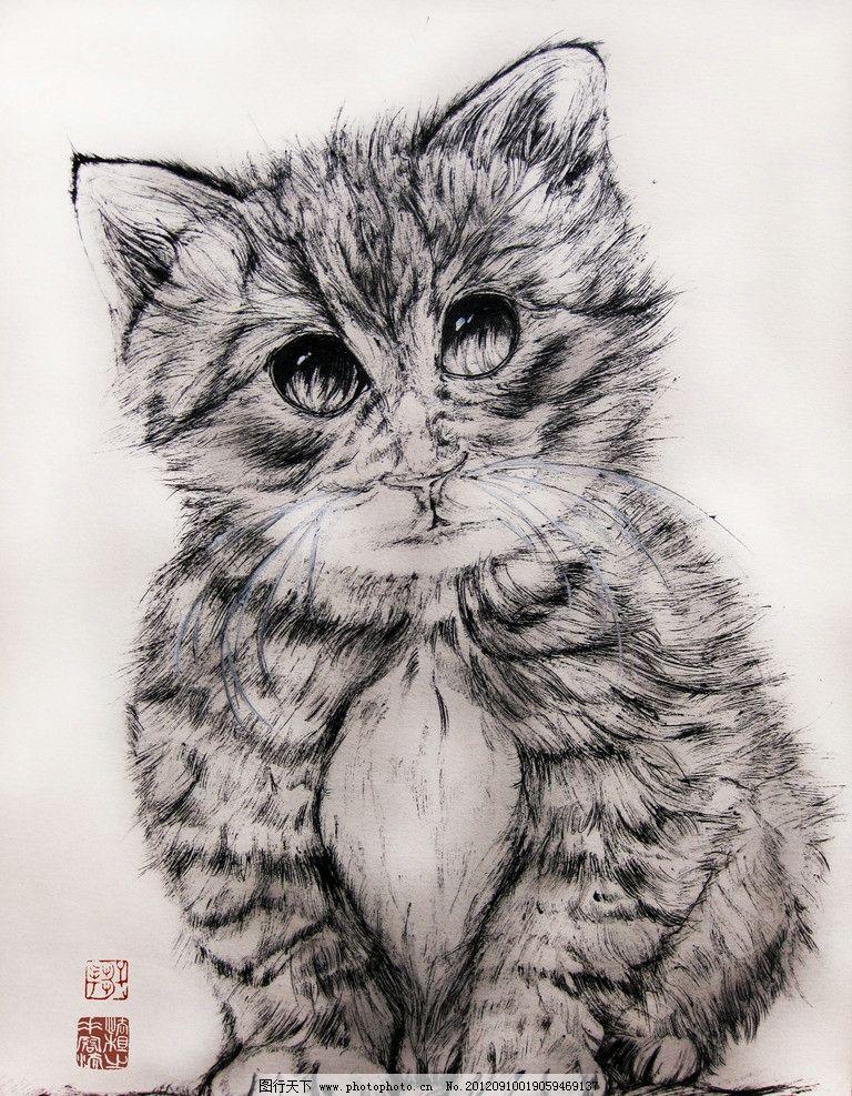花猫 猫 手绘 中性笔 绘画书法 文化艺术 设计 180dpi jpg