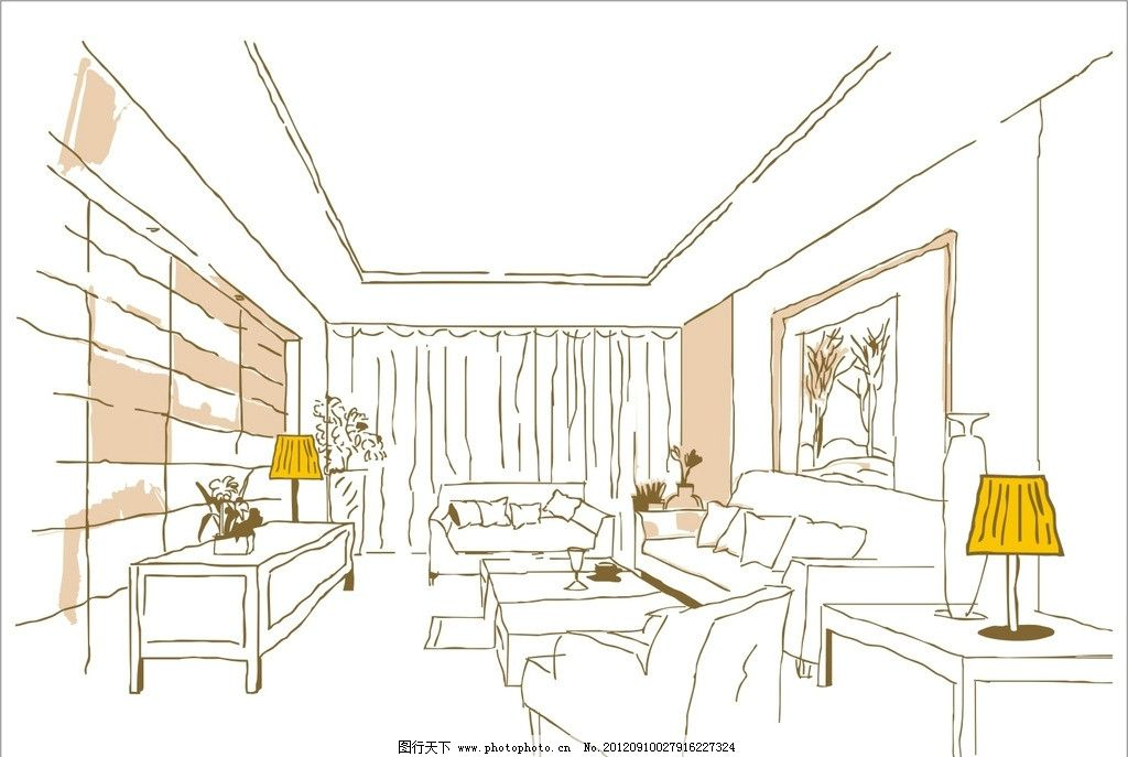 客厅场景线稿图 素描 手绘 沙发效果 茶几线稿 台灯线稿 建筑家居