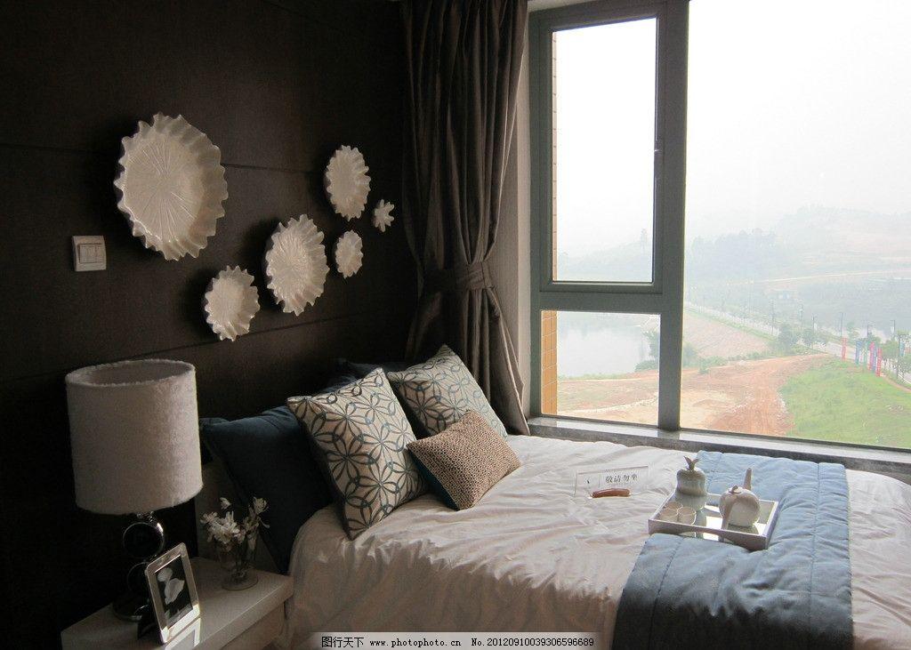 卧室设计 床头装饰 墙面设计 清新淡雅 台灯 室内设计 室内摄影