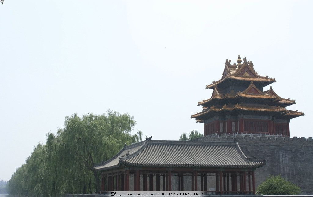古建筑 天安门 亭台楼阁 树林 屋檐 房顶 蓝天 旅游 湖畔 建筑摄影