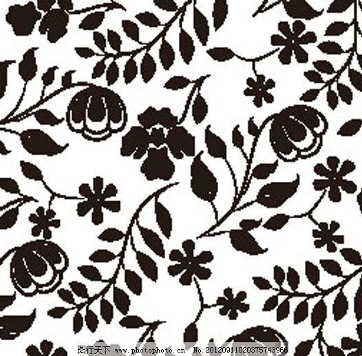 四方连续 花朵 植物 叶子 藤蔓 底纹 花纹花边 底纹边框 矢量 eps