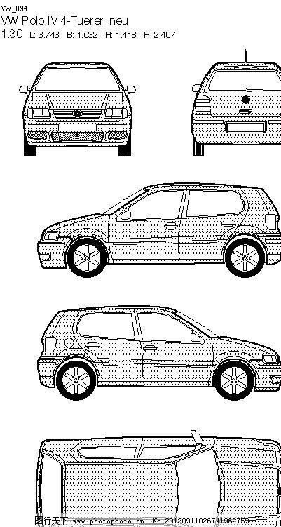 线稿 线框 轮廓图 视图 三视图 五视图 左视图 右视图 矢量图 汽车