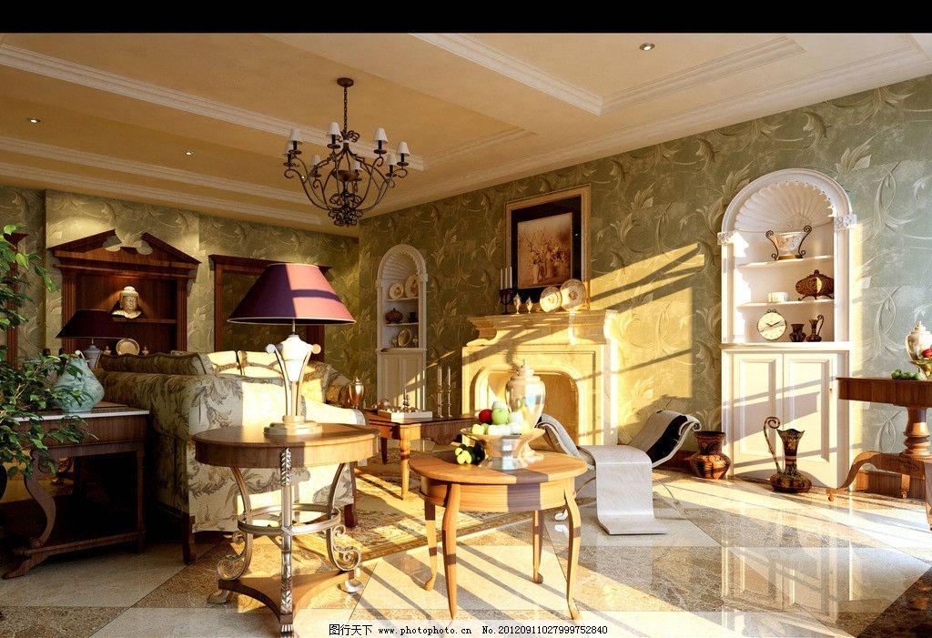 客厅 效果图 室内效果图 欧式 欧式客厅 沙发 茶几 壁炉 壁纸