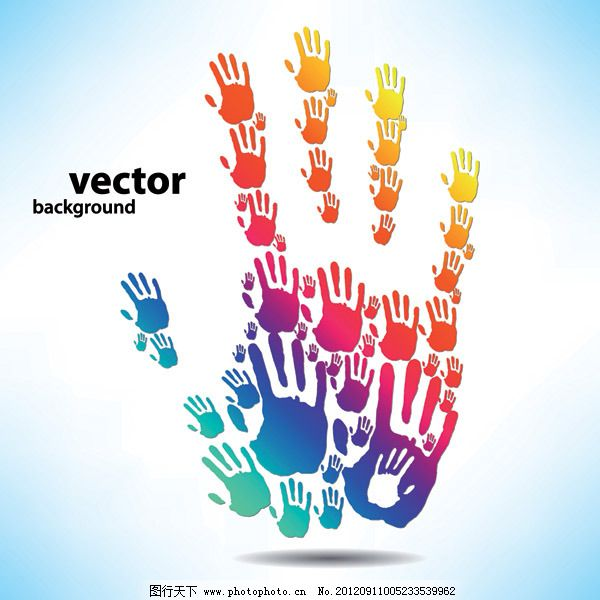 矢量创意个性五彩手印免费下载 缤纷 矢量素材 手型 手印 手掌 五颜六