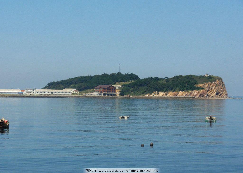 海岛风光 海岛 树木 平房 大海 小船 海天一色 自然风景 自然景观