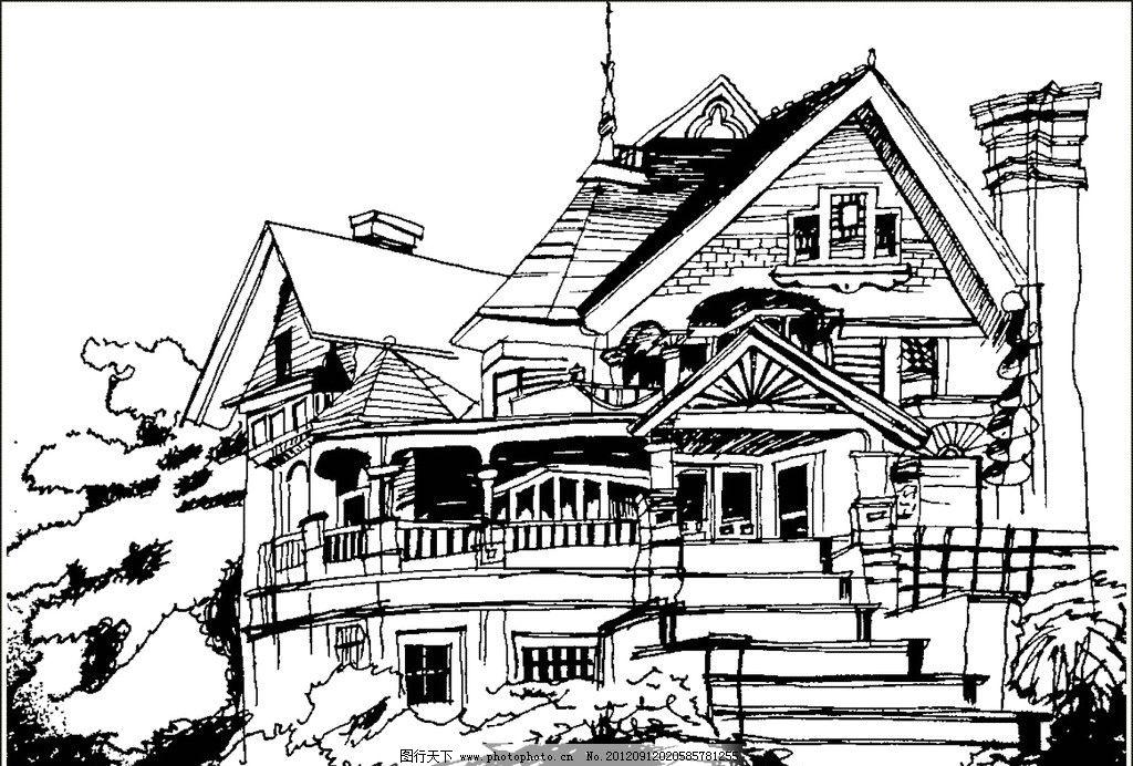 别墅 大厦 手绘 房子 大树 环保 屋子 楼梯 线描图 条纹线条 底纹边框