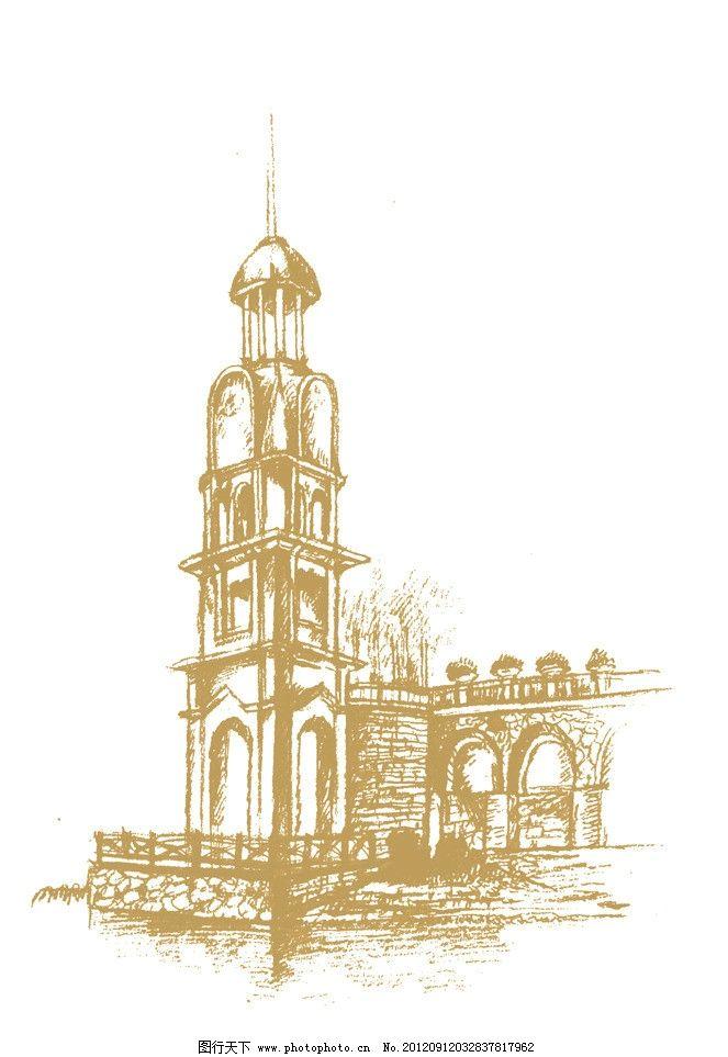 欧式塔楼手绘图片