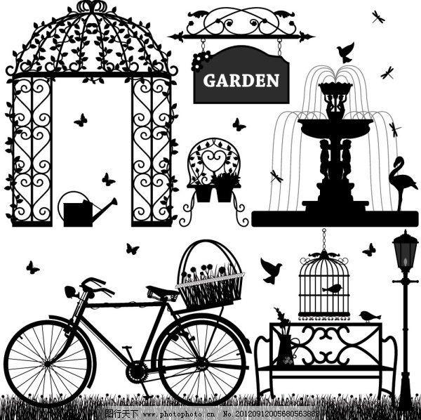 漂亮欧式花园元素剪影矢量素材