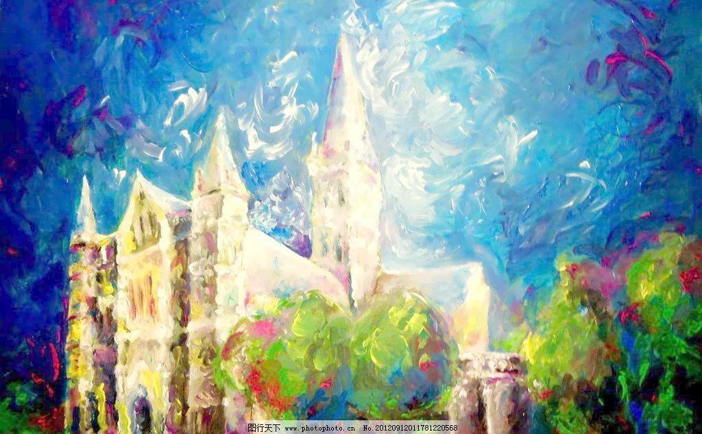 油画 森林古堡 城堡 风景 风景画 挂画 绘画 绘画书法 景色