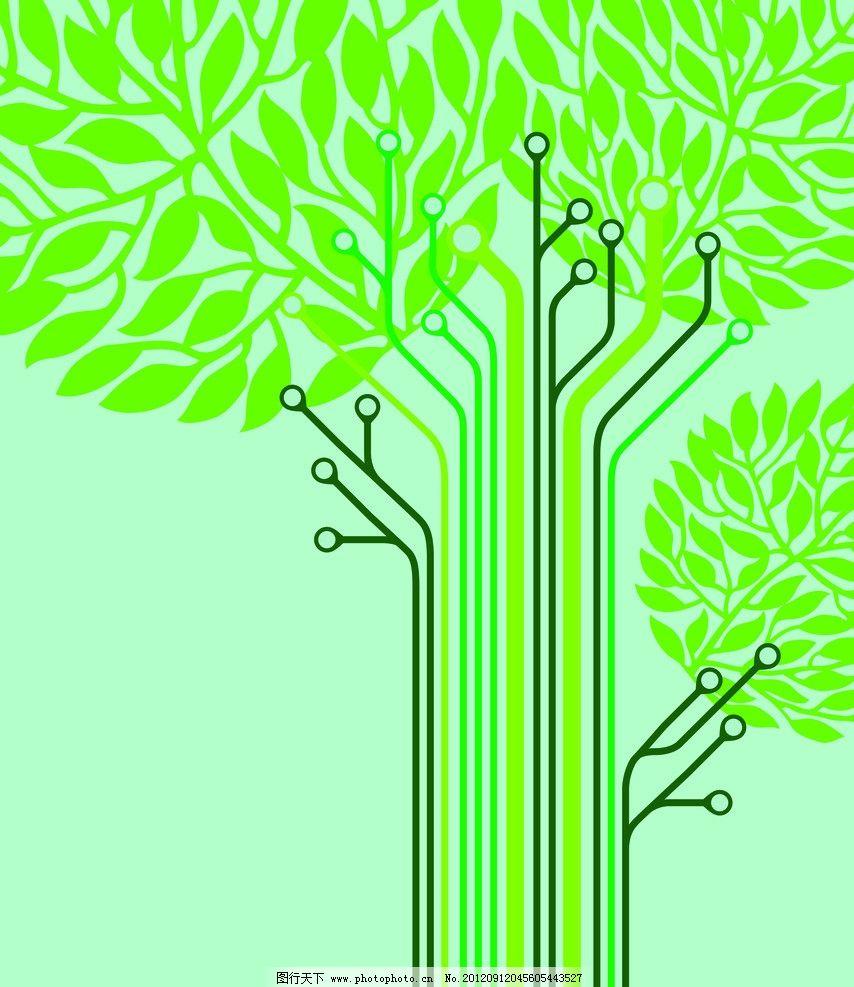 绿色环保树枝简笔画