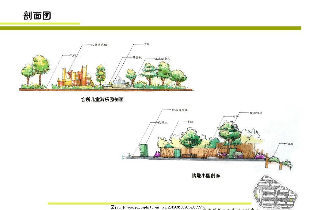 景观设计 手绘立面图 剖面图 小区公园 环境设计 设计 300dpi jpg