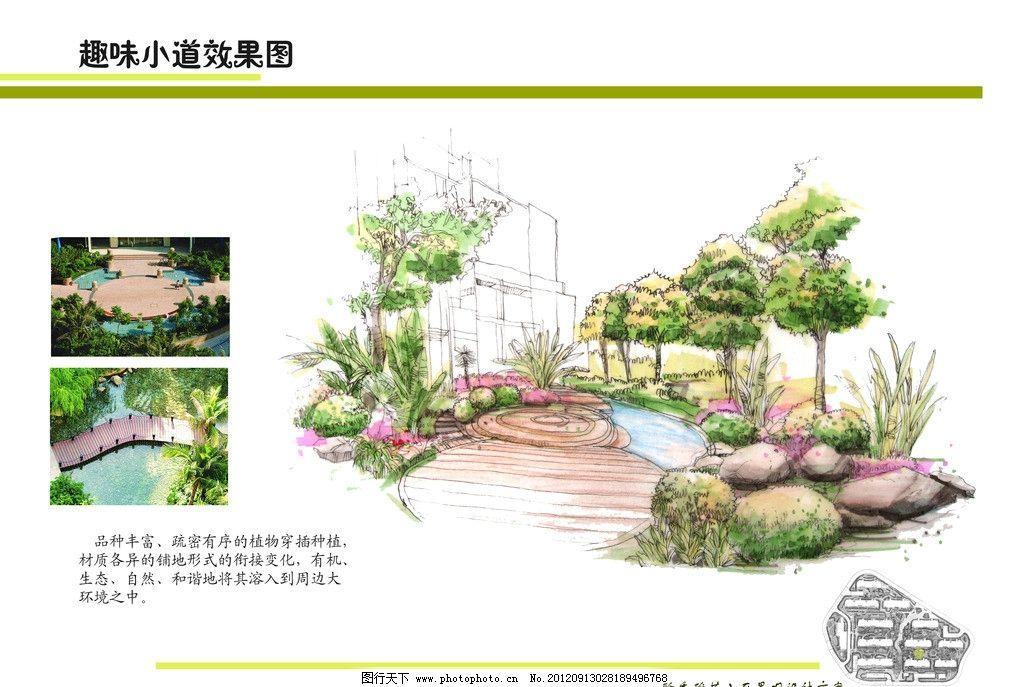 手绘景观设计 小区公园效果图