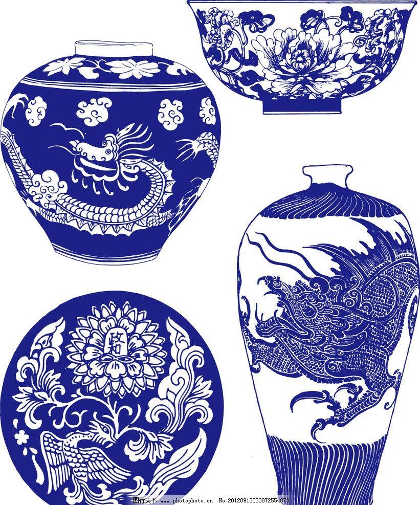 简笔画古风花边陶瓷蓝色的