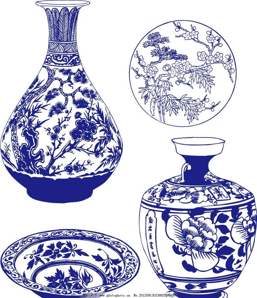 陶瓷 花纹 手绘花纹 花卉 花矢量 植物矢量 青花矢量图 青花瓷盘 装饰