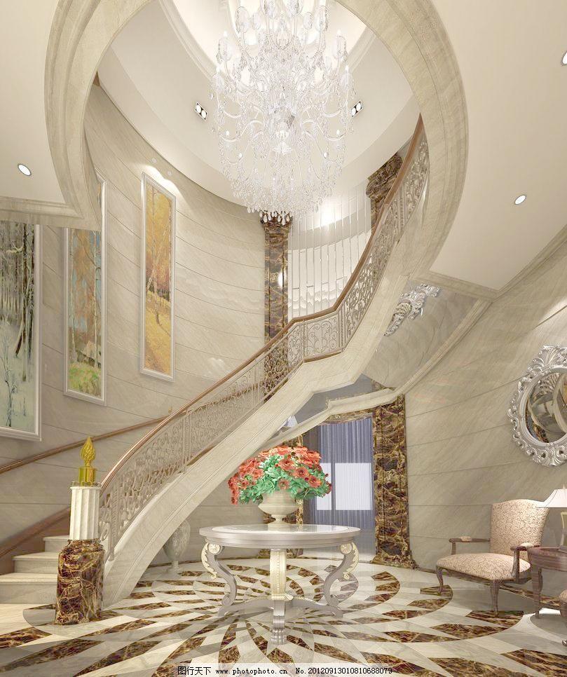 某欧式风格别墅园厅旋梯室内设计效果图图片